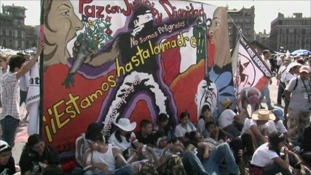 Protesters in Zocalo Square