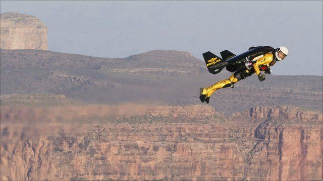 Yves Rossy in flight over the Grand Canyon