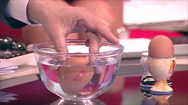 An egg sinking in water