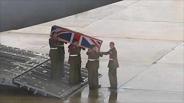 Warrant Officer Darren Chant being repatriated