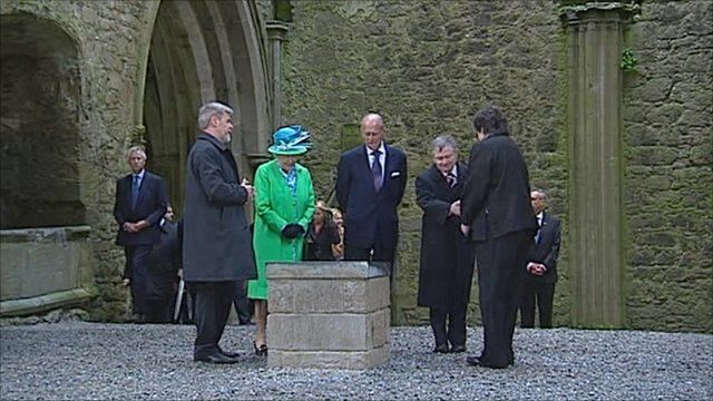 The Queen and Prince Philip are guided around the Rock of Cashel