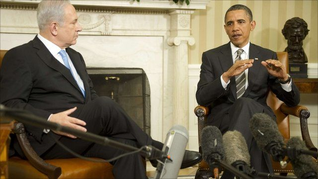 Barack Obama and Israeli Prime Minister Benjamin Netanyahu make a statement at the White House