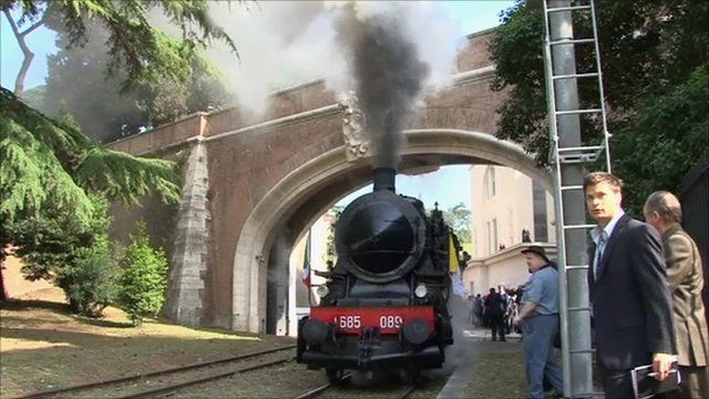 Steam train leaving Vatican