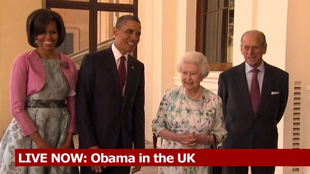 Michelle and Barack Obama with The Queen and the Duke of Edinburgh