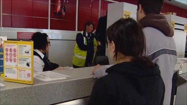 Ryanair passengers checking in
