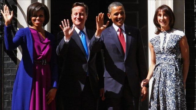 The Obamas and Camerons wave outside Number 10