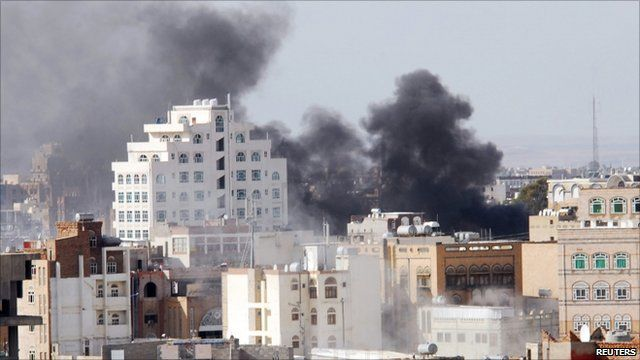 Smoke rises over Sanaa