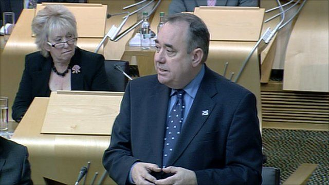 First Minister Alex Salmond addresses the Scottish Parliament