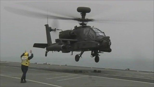 Apache helicopter takes off