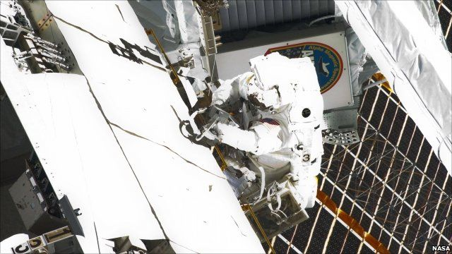 Nasa astronaut Mike Fincke working on the ISS