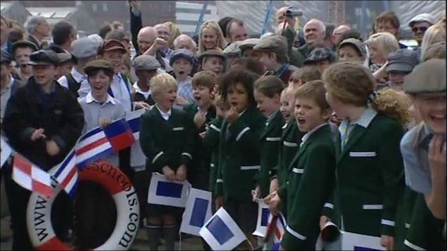 Children cheering at event to remember Titanic's launch