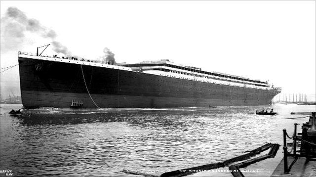 RMS Titanic pictured after her launch in Belfast 1911
