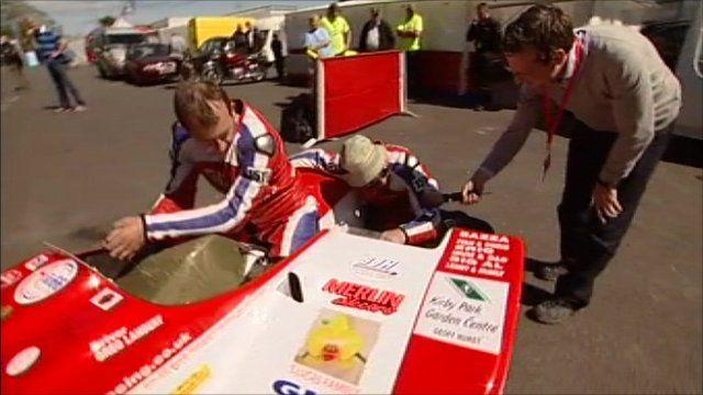 Greg Lambert and Aaron Galligan speak to Richard Westcott from their Honda sidecar