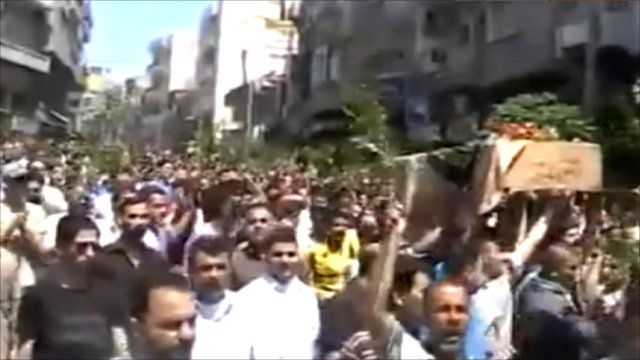 A funeral said to have taken place in Jisr al-Shughour on Saturday