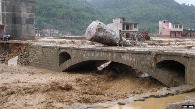 Swollen river in Guizhou province