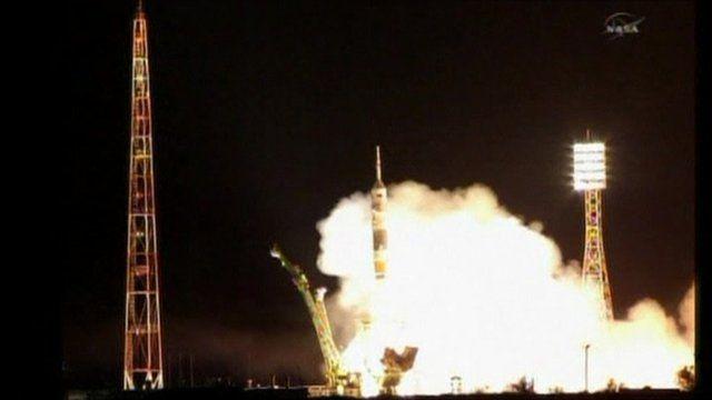 The Soyuz rocket takes off