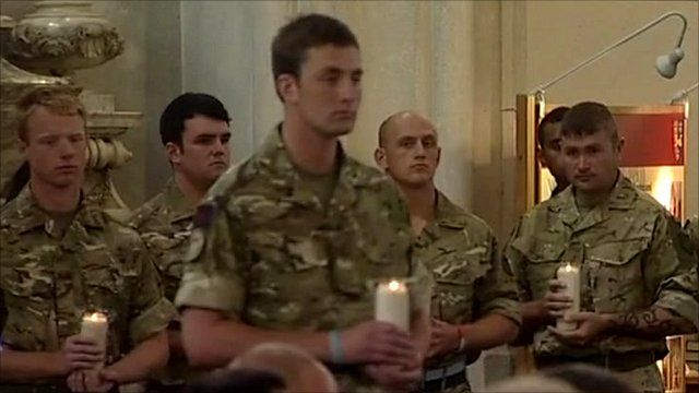 Soldiers at remembrance service