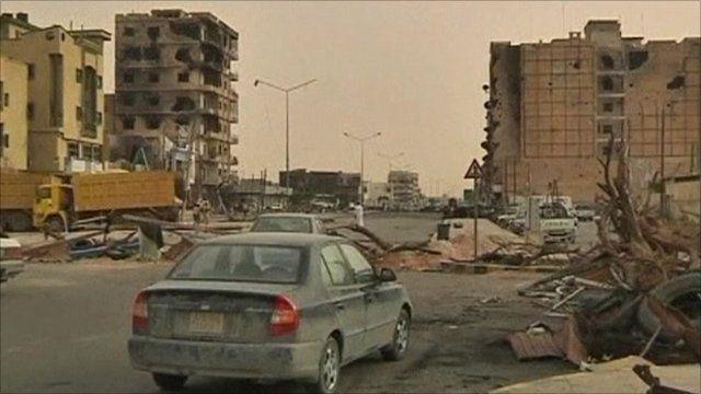 Bombed town in Libya
