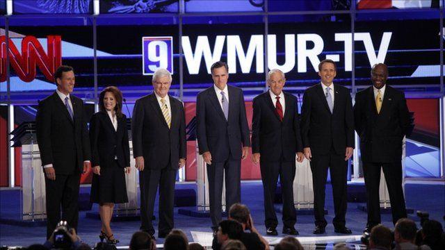 Rick Santorum, Michele Bachmann, Newt Gingrich, Mitt Romney, Ron Paul, Tim Pawlenty and Herman Cain