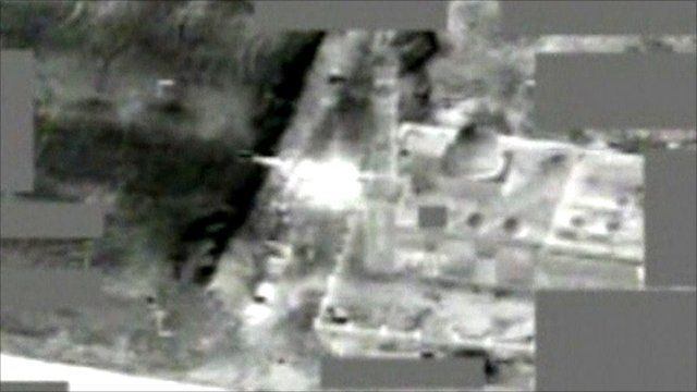 Still from Nato footage shot from a surveillance platform over the western Libyan city of Zlitan on June 10