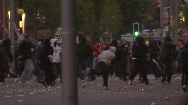 Scenes in east Belfast on Monday night