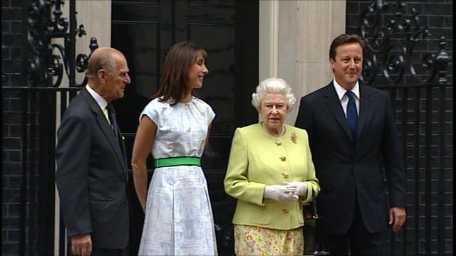 The Camerons with the Queen and Prince Philip