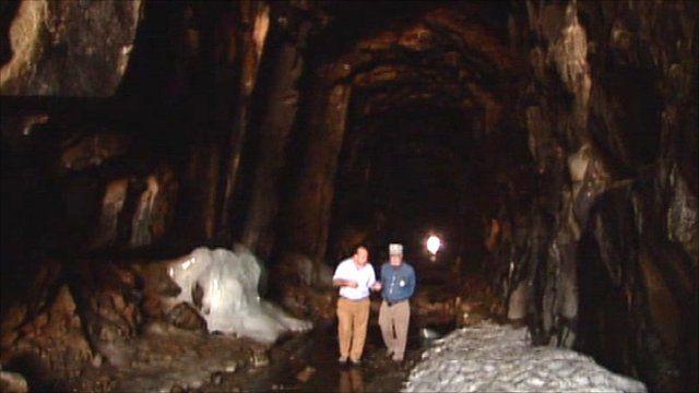 Inside transcontinental railroad tunnel