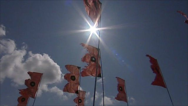 Flags flying at Glastonbury