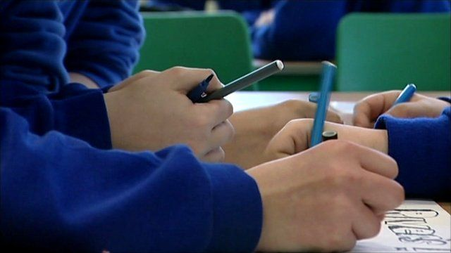 School students working