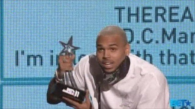 Chris Brown with the first of his four BET awards