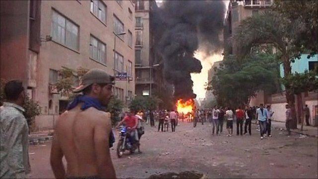 Blaze at Cairo protest