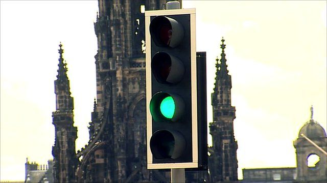 Traffic lights in St Andrew's Square, Edinburgh