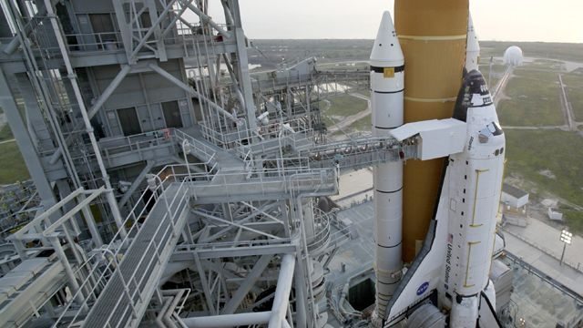 Space shuttle Atlantis on launch pad