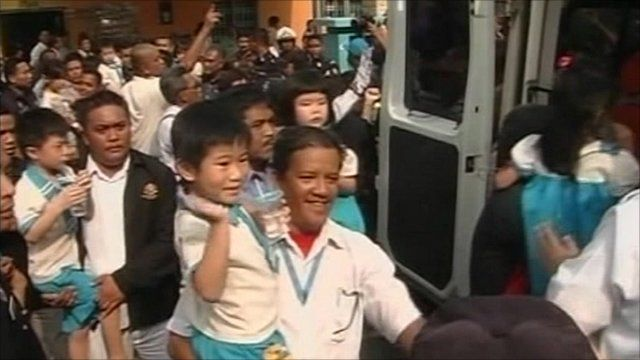 Police carried the children to safety