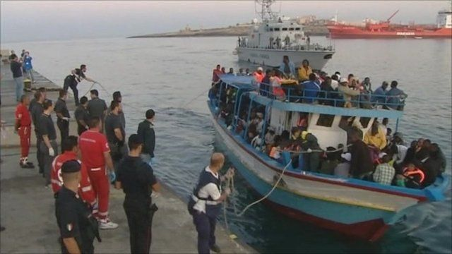 Migrant boat in Lampedusa
