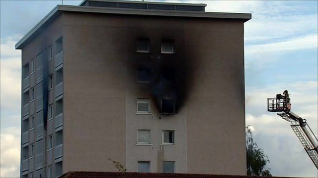 Block of flats on fire