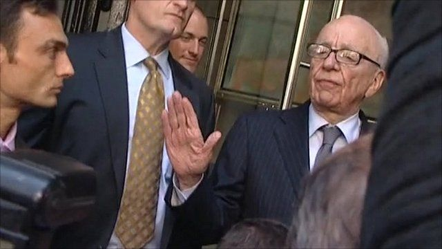 Rupert Murdoch after speaking with the Dowler family