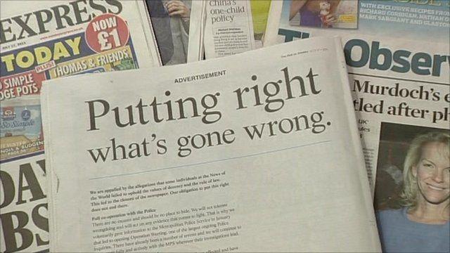 News International Sunday apology