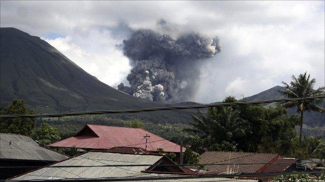 The Mount Lokon volcano erupting