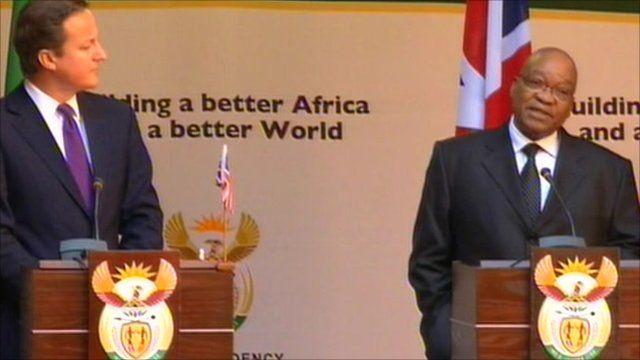 UK Prime Minister David Cameron and South African President Jacob Zuma