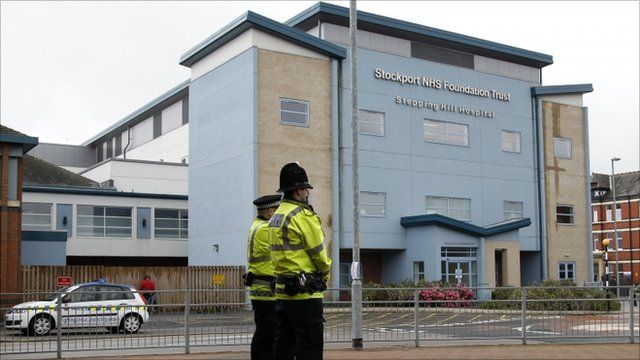 Police outside the Stepping Hill Hospital
