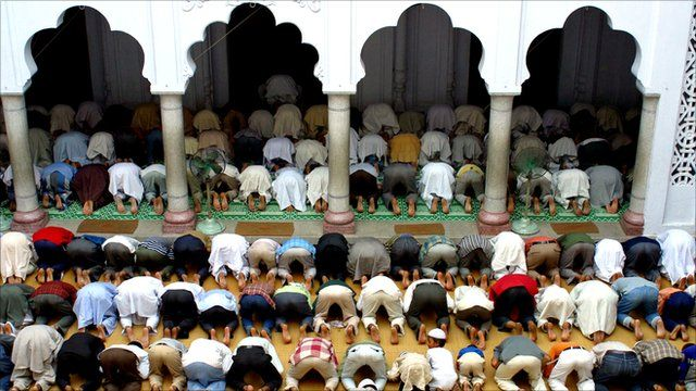 Muslims offer prayers during the holy month of Ramadan