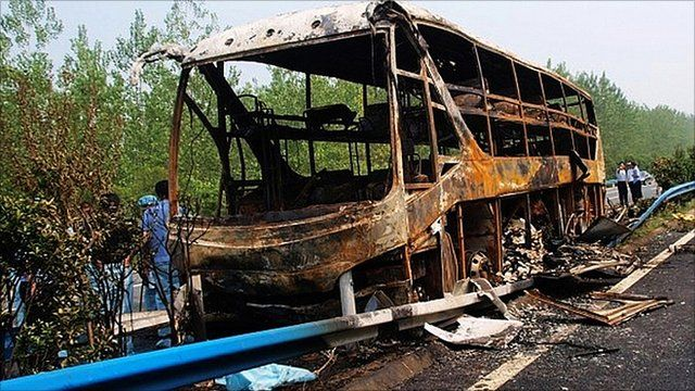 Bus fire in China