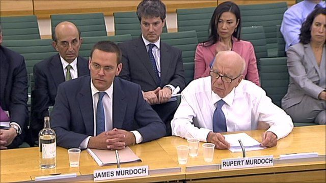 James and Rupert Murdoch at Select Committee hearing