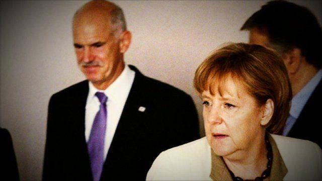 German Chancellor Angela Merkel and Greek Prime Minister George Papandreou