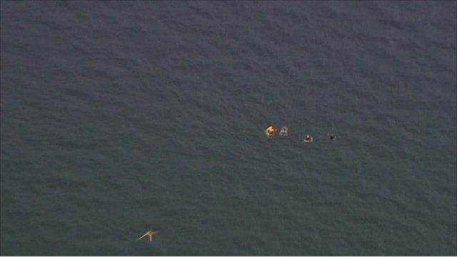Victims swimming away from Utoeya island.