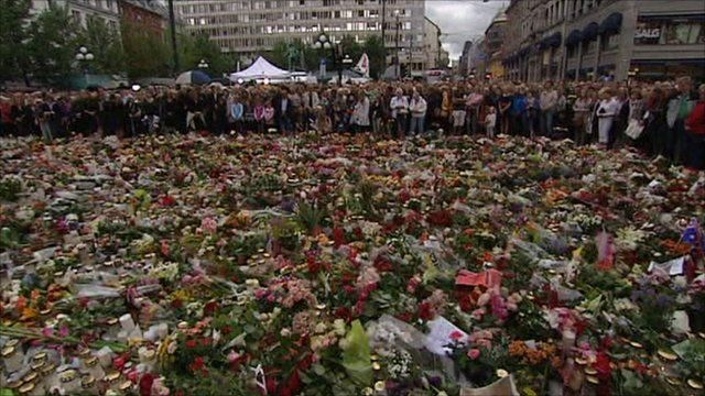 Floral tributes left outside the cathedral in Oslo
