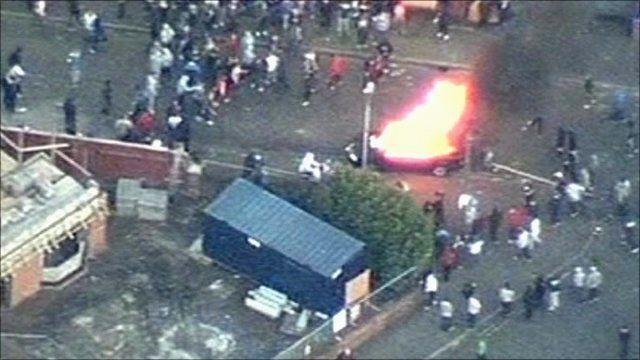 CCTV footage of burning car