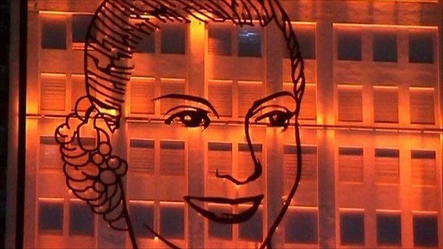 Face of Eva Peron on a mural