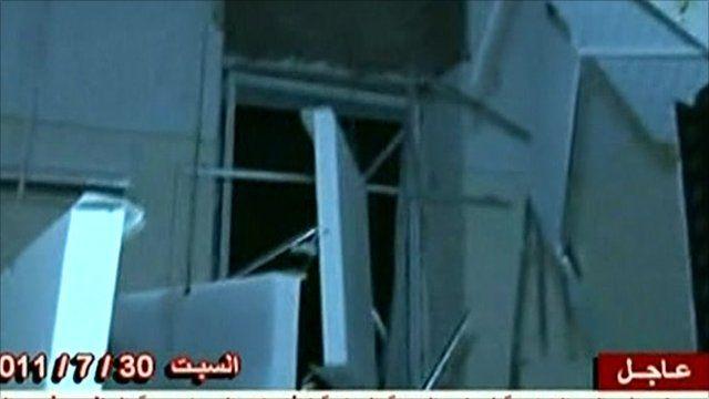Libyan state TV image of damage